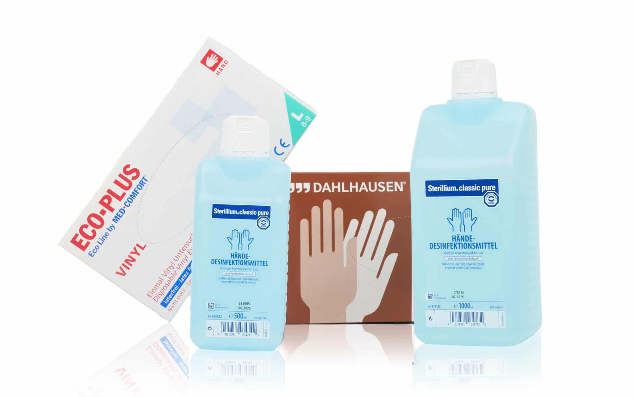 Hygiene Artikel - Einweghandschuhe Dahlhausen, ECO-PLUS VINYL, Sterillium Händedesinfektionsmittel verschiedene Größen