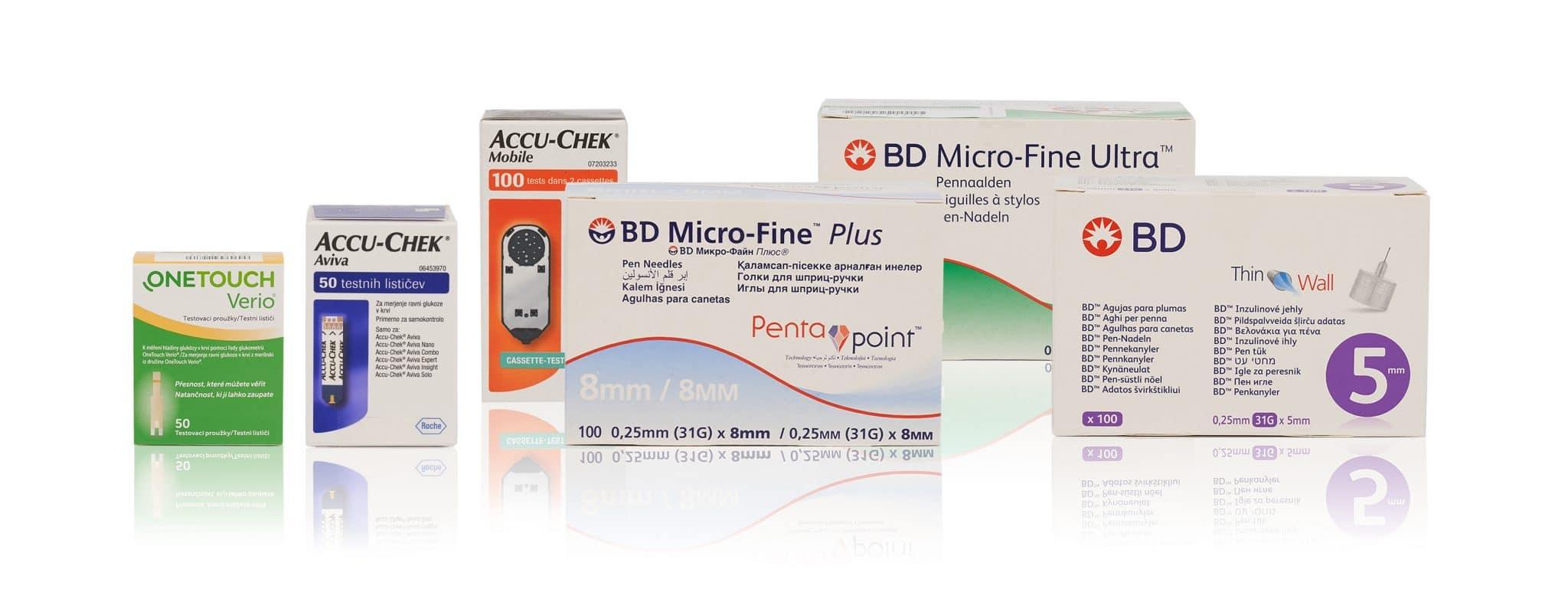 Import Diabetes Produkte - Pen Nadeln BD Micro-Fine, Thin Wall - Teststreifen OneTouch Verio, Roche Accu-Chek, Blutzucker Messgerät Mobile